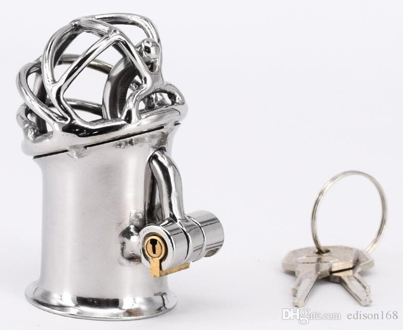 2017 Latest Male Stainless Steel Penis Piercing PA Puncture Lock Bondage Cock Cage Chastity Device Sex Toy For Men Adult BDSM Product S060