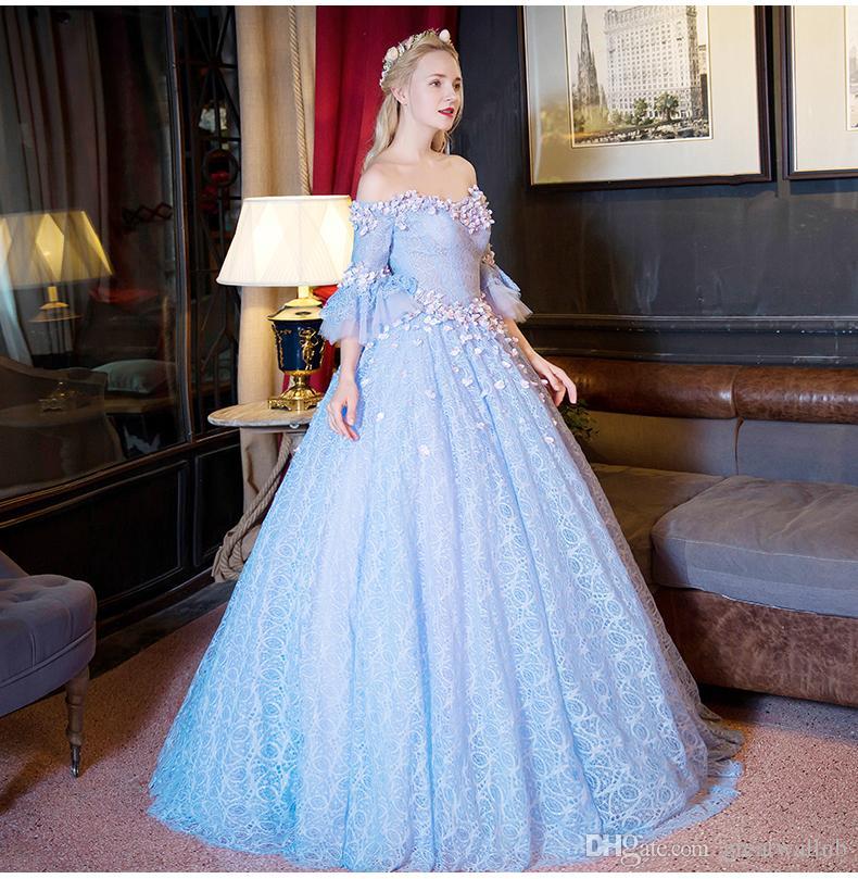 100% reale pizzo blu chiaro slash colletto abito da ballo corte abito medievale abito rinascimentale principessa costume abito vittoriano
