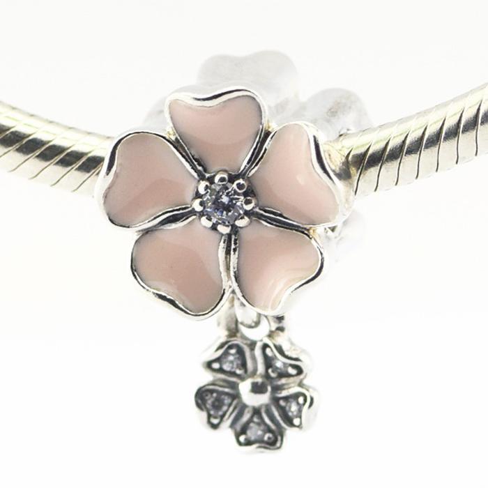 Poets Blooms Soft Rosa Esmalte Clear CZ 100% 925 Esferas de Prata Esterlina Fit Pandora Encantos Pulseira Authentic Diy Moda Jóias