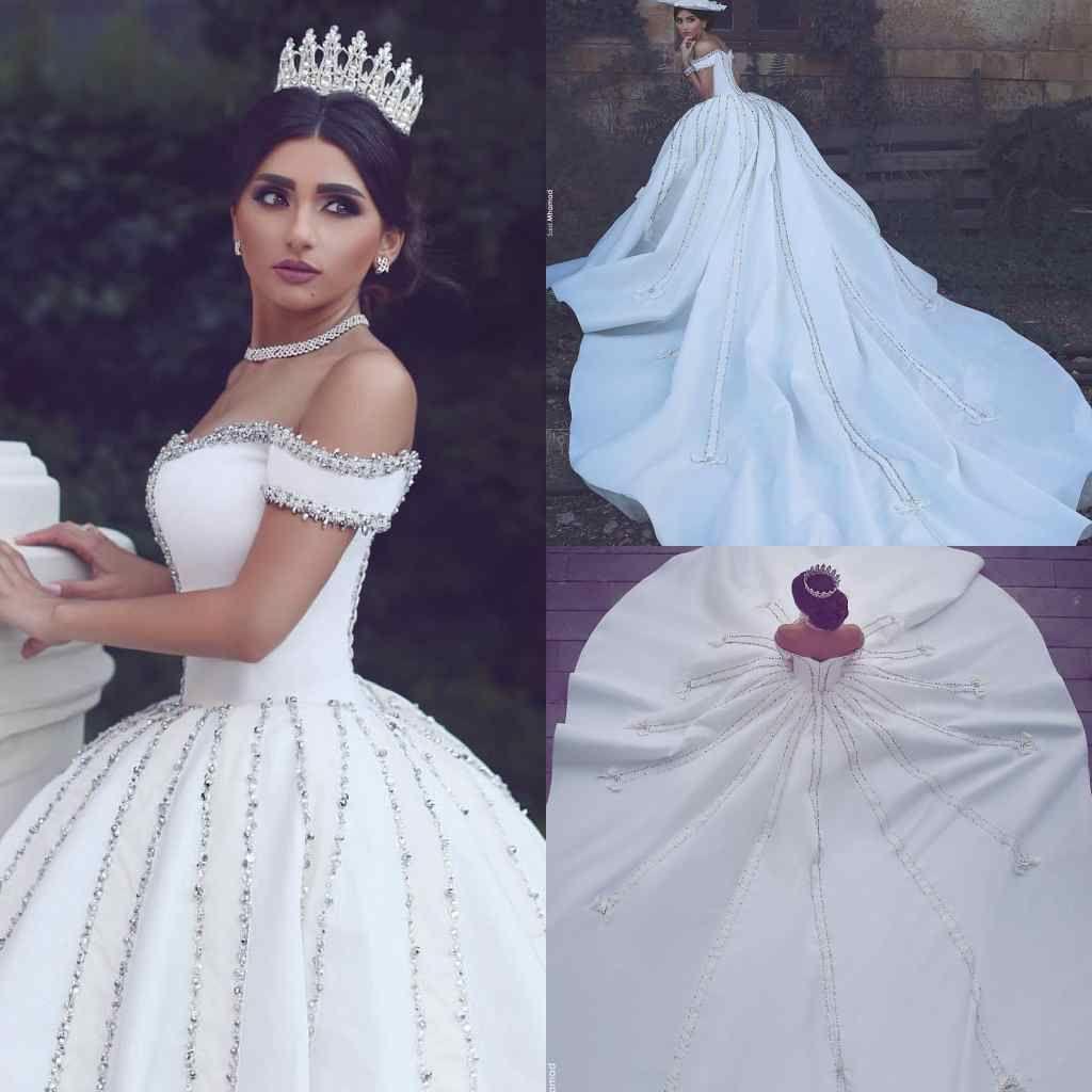 2019 Said Ahamad al largo della spalla Abiti da sposa Brillante in rilievo Cattedrale di cristallo Treno Abito da sposa Bianco Avorio Raso per il Castello di Nozze