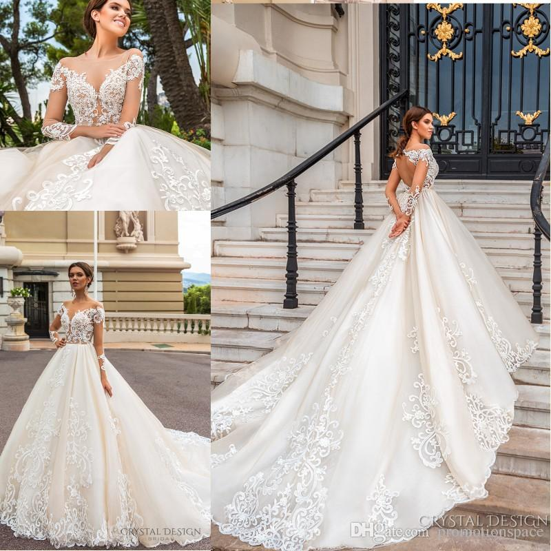 2018 Stunning Designer Wedding Dresses with Sheer Long Sleeves Illusion Neckline Full Lace Appliqued Keyhole Back Court Train Bridal Gowns