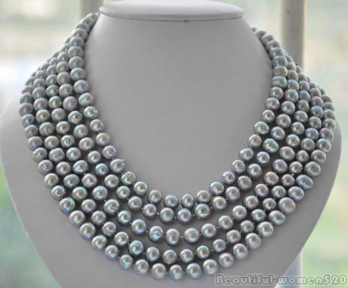 Elegante barroco 11-12mm tahitian prata colar de pérolas cinza 45 polegada 14k fecho de ouro