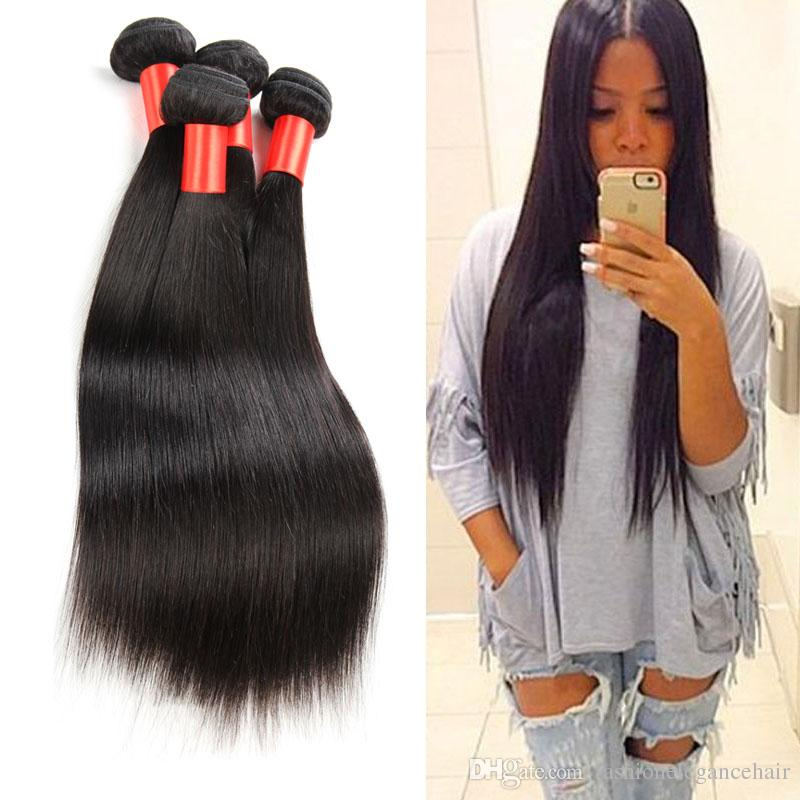 Peruvian Human Hair Straight Natural Color Dyeable 7A Best Quality 12-30 Inch Silky Straight Hair Weave Cheap Peruvian Straight Hair Bundles