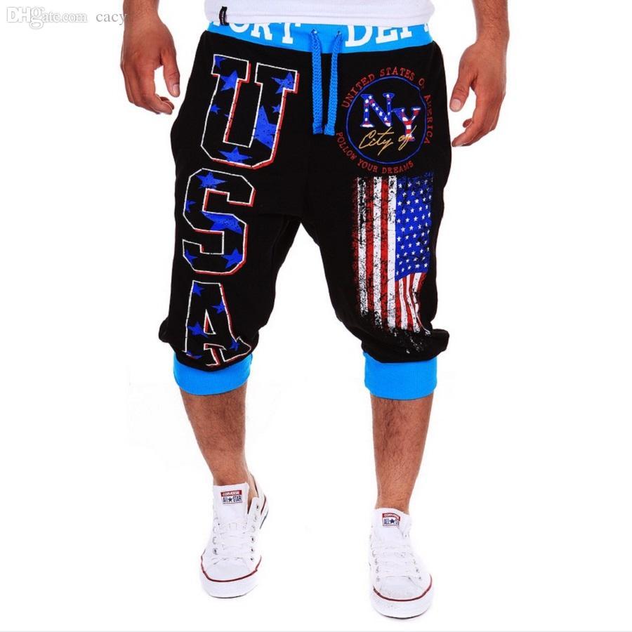 Оптовая продажа-летнее платье письмо США флаг печатных баскетбол шорты мужчины шорты до колен повседневная moletom masculino