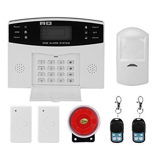 Sicherheitsalarmsystem - GSM, SMS Benachrichtigungen, 8 verdrahtete Verteidigungszonen + 99 Wireless Defense Zones, 110dB Sirene