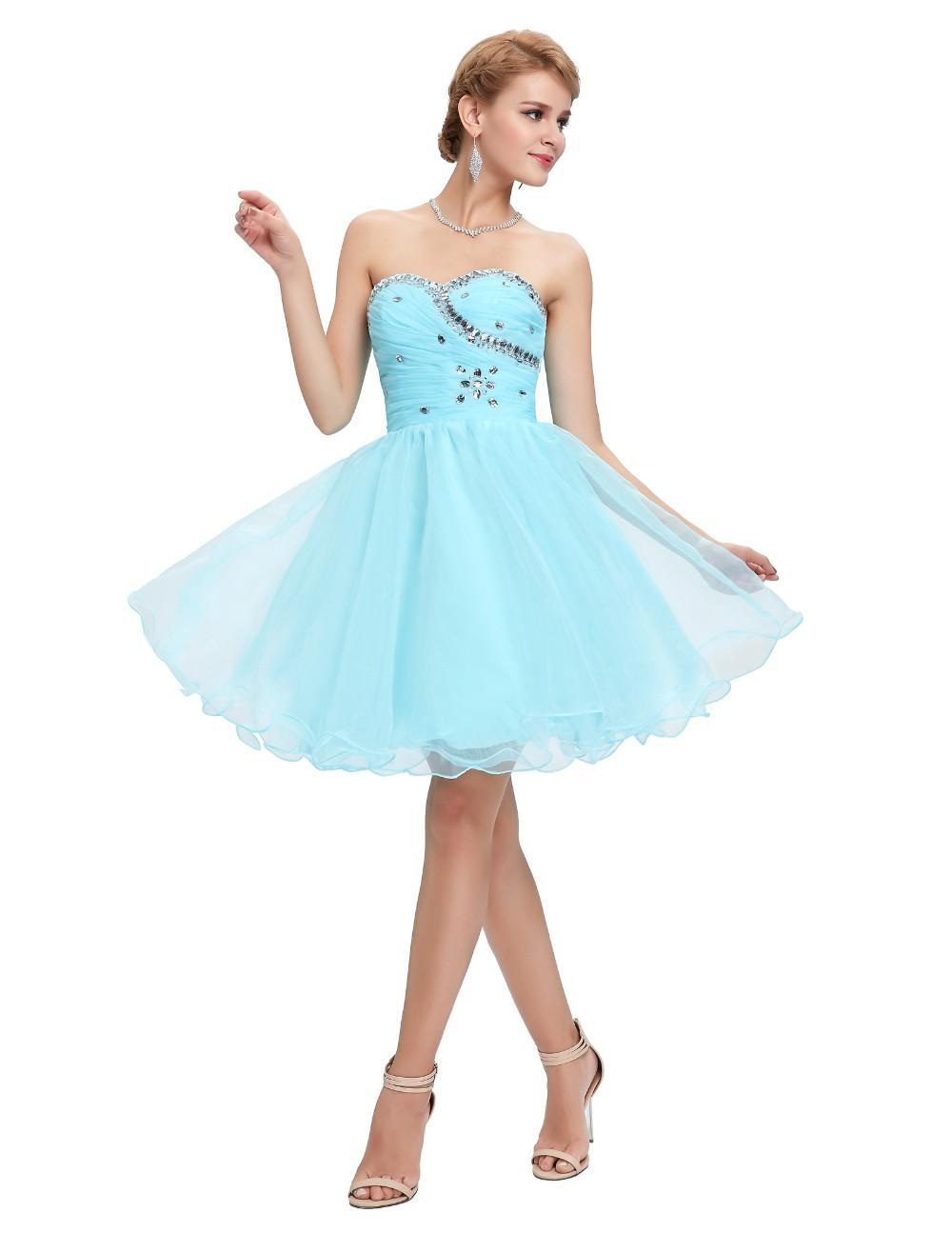Grace Karin Sweetheart Short Prom Dresses Pink Blue Black White Prom ...