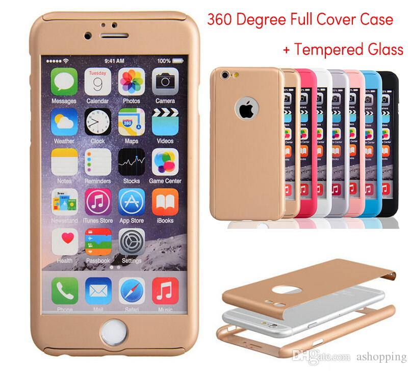 low priced a8f7f 59f19 For Iphone 7 360 Degree Full Cover Hybrid Hard Case + Tempered Glass Screen  Protector For IPhone 5s Se 6 7 Plus I6 With Retail Package Cell Phone ...