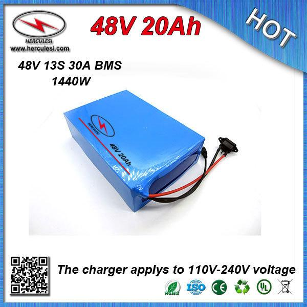 Batteria al litio elettrica potente per batteria 48V 20Ah batteria al litio con custodia in PVC integrata Caricabatterie 30A BMS + CC / CV