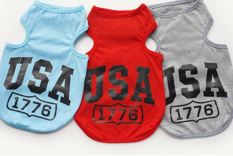 Y2 Free shipping New Summer Pet Dog T Shirt Clothes Cute USA pattern Vest Shirts Clothing for Dogs Cats
