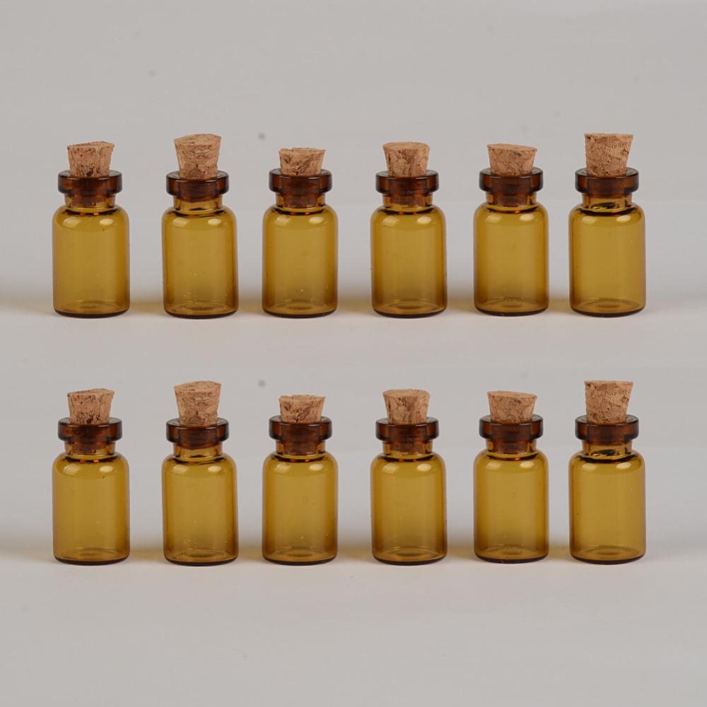 100 Stück 13x24x6 mm braun Glasflaschen mit Korken DIY 1 ml leere dekorative niedliche Glasfläschchen Mini Gläser