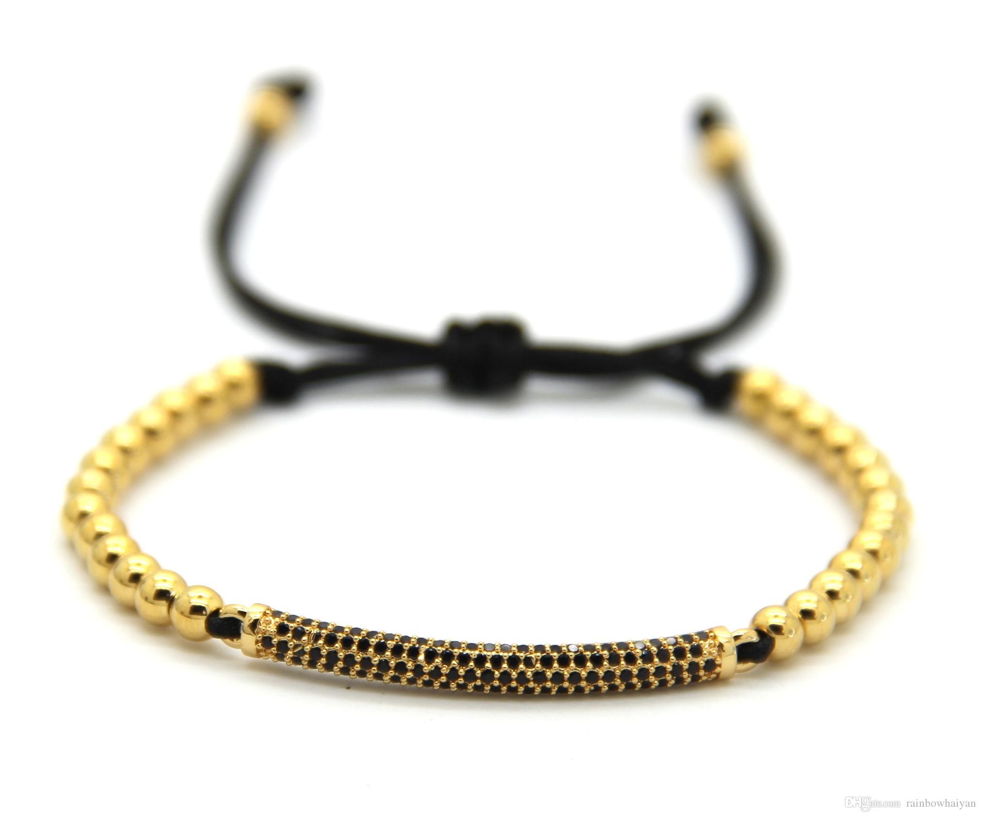 2016 Nouveau Mode Hommes Femmes Bijoux, 4mm Aucun Fade Bronze Perles Armure Mince Noir Cubique Zircone Tube Tressé Macramé Bracelets