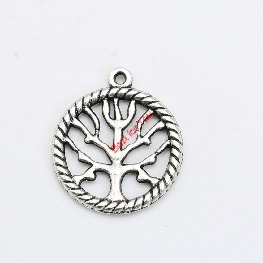 Argento antico placcato Tree of Life Charms ciondolo collana bracciale creazione di gioielli fai da te fatti a mano 22x19mm
