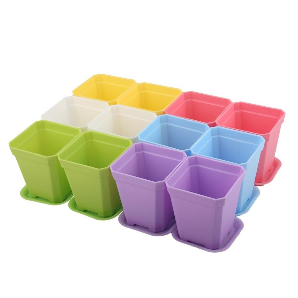 2.70 Inch Colorful Plastic Seedlings Nursery Pots/Pot/Planter with Saucer, Pack of 12 Random Colors Mixed