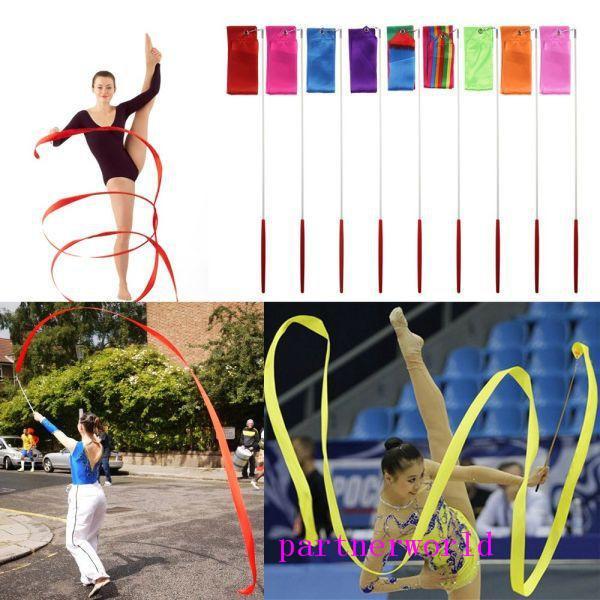 Novo 4 M Ginástica Fita Colorida Ginásio Arte Rítmica Fita de Dança de Ballet Streamer Twirling Rod Vara Multi Cores