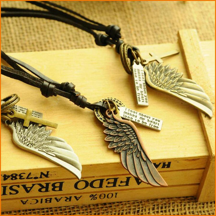 HOT SELL - Adjustable Retro Antique Vintage Angel Wing Feather Men's Leather Necklace Charms Pendants (3 Color)