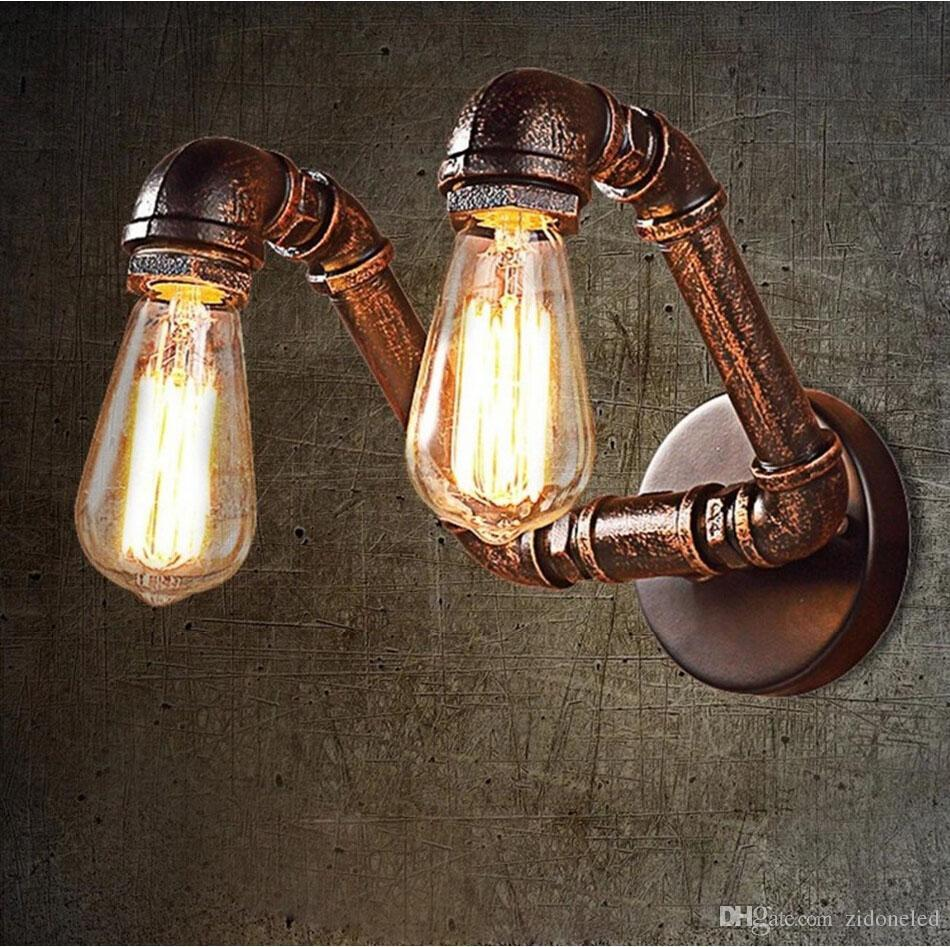 Vintage Water Pipe Wall Lamp American Country Industrial Styl RH Loft 2 Heads Wall Sconce Vintage Bronze Iron Art Lustree