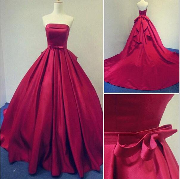 2016 롱 부르고뉴 댄스 파티 드레스 볼 가운 야간 파티 드레스 Strapless Stain Lace-Up Dress 리얼 사진