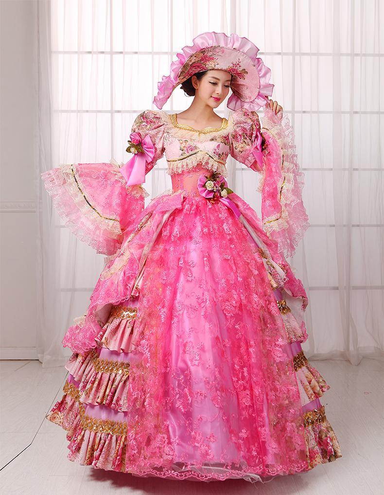 con volantes de encaje rosa caliente vestido de bola de vestido medieval de lujo con sombrero siss princesa Vestido reina Cosplay Victoria Belle bola