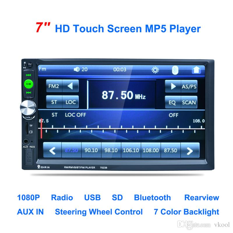 "7 ""pollici Car DVD 2DIN Touch Screen Auto Radio Video Audio MP4 MP5 Player 1080P HD TFT Bluetooth FM / USB / AUX + Telecamera posteriore"
