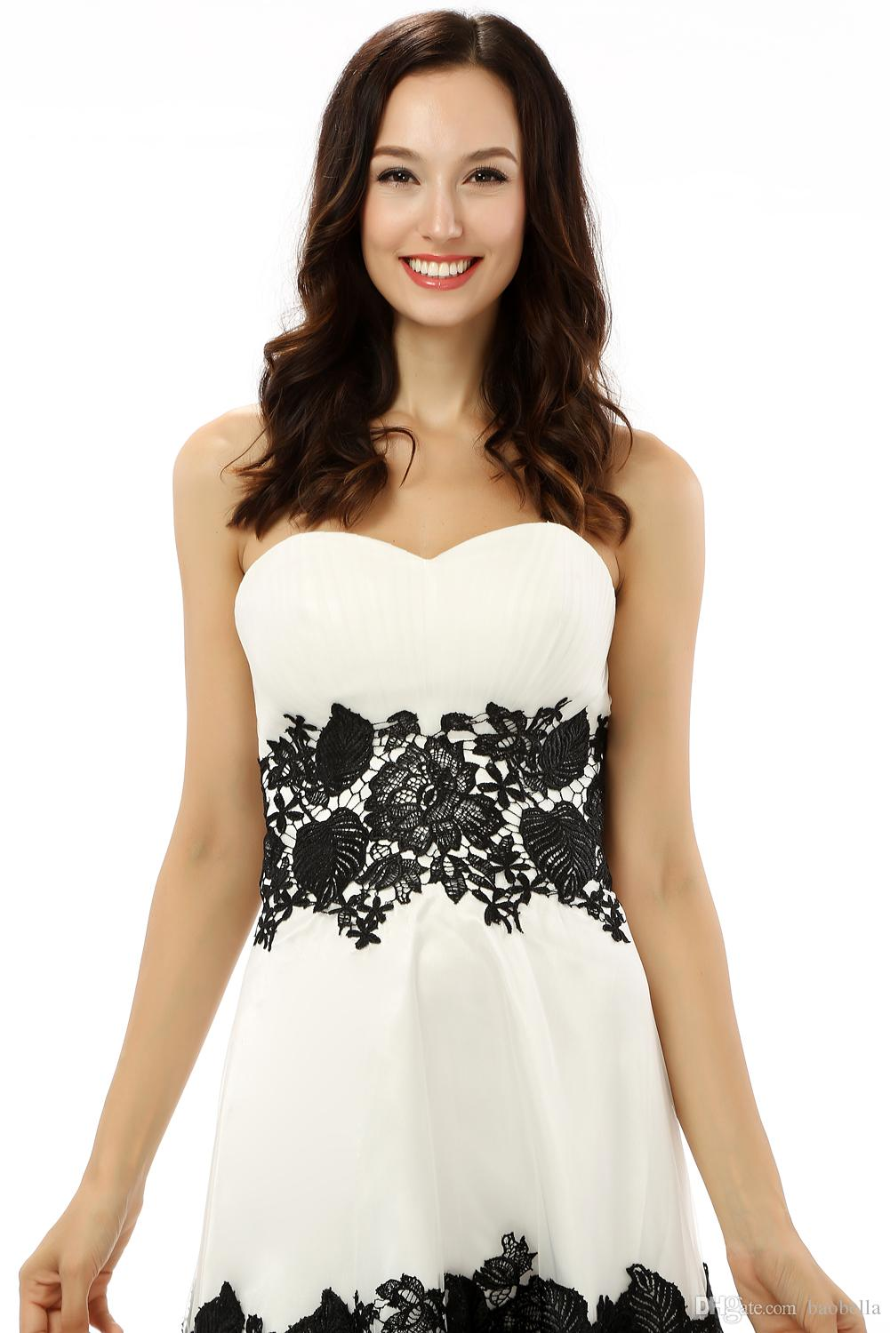 White Black Lace Up Back Homecoming Dresses A-line Sweetheart Satin ...