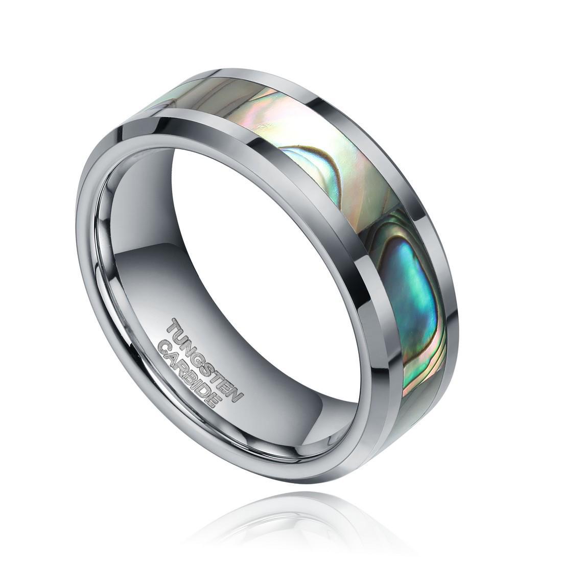 6 / 8mm homens anel de tungstênio aliança de casamento anel de prata com abalone conforto fit tamanho 6-13