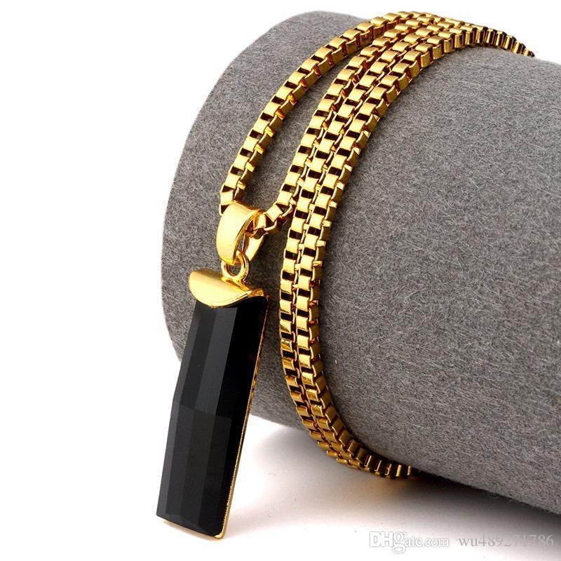 Новая Мода Золото Шарм Черный Удлиненный Драгоценный Камень Кулон Ожерелье Bling Ледяной Камень Цепи Хип-Хоп Для Мужчин Женщин Ювелирные Изделия Подарки