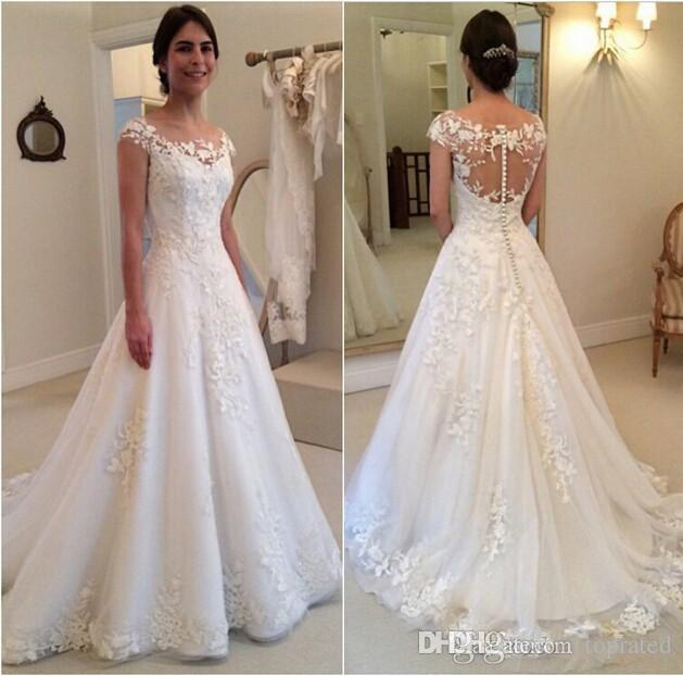 Discount 2019 New Modest Wedding Dresses Lace Cap Sleeves Covered Button Applique See Through Bateau Sweep Train Bridal Gowns Custom Made Wedding Gown