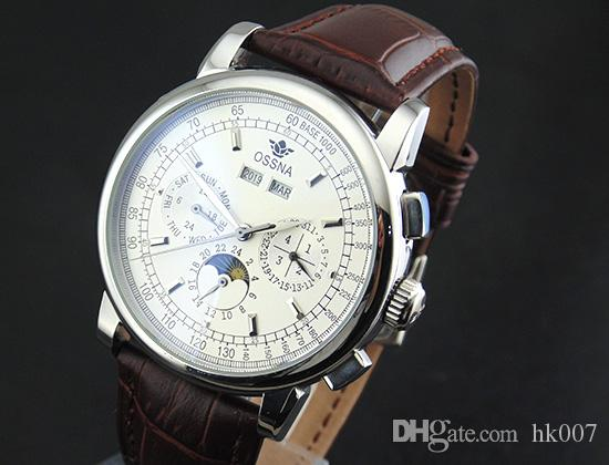 1654 Ossna 42mm White Dial Silver Stainless Steel Case Moon Phase Multifunction Automatic Men's Watch
