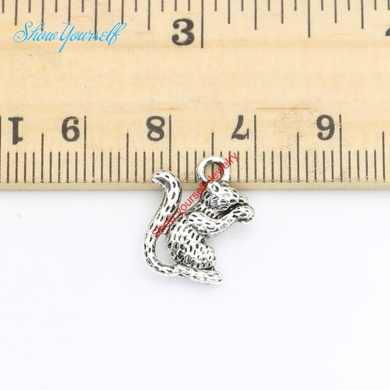 20 teile / los Antikes Silber Überzogene Eichhörnchen Tiere Charms Anhänger für Halskette Schmuck Handgemachte Fertigkeit 16X13mm