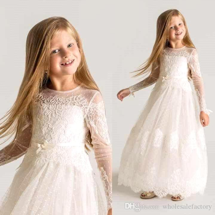 New Fall Winter Long Illusion Sleeves Flower Girl Dresses Jewel Neck Lace Appliques Full Length With Sash Girl Pageant Dresses BO8797