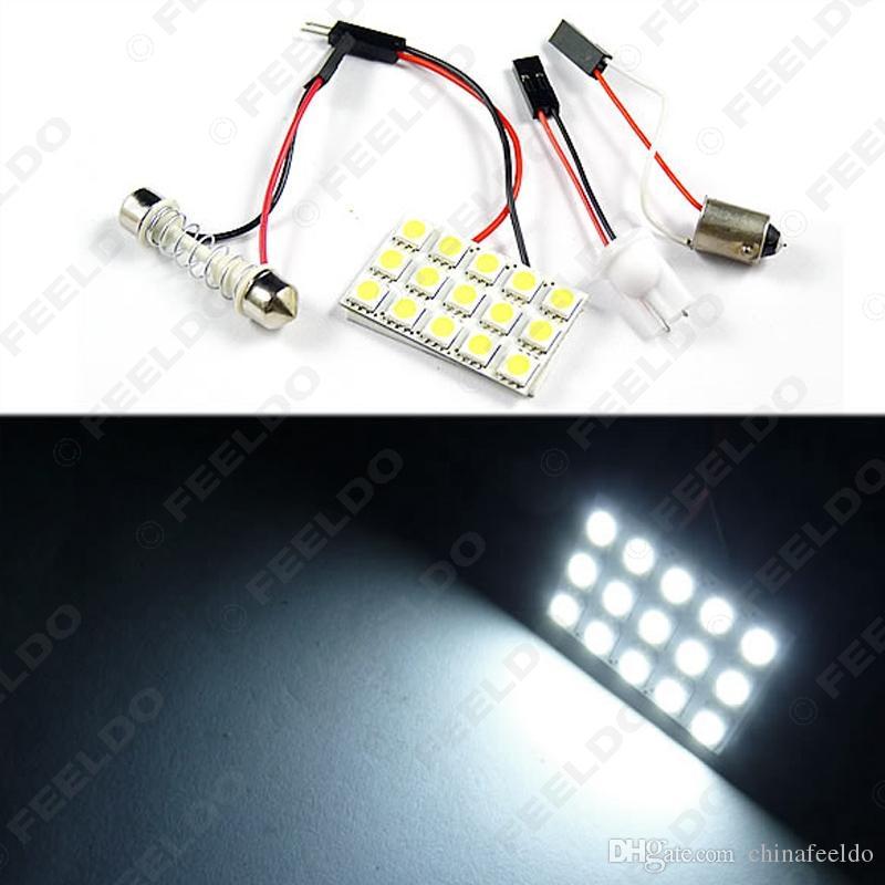 10 pcs blanc 15SMD 5050 puce De Voiture Led Lumière avec 3 adaptateurs T10/BA9S / Feston Dôme lumière #3322