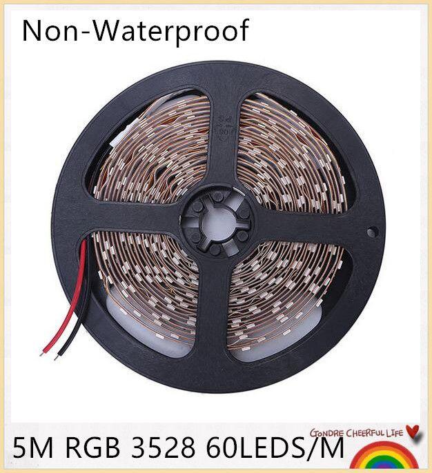 Nastro 5PC 300led SMD3528 LED Strip 12V non a tenuta stagna RGB Cool / warm Bianco Rosso Verde Blu Giallo Luce SMD LED Ribbon