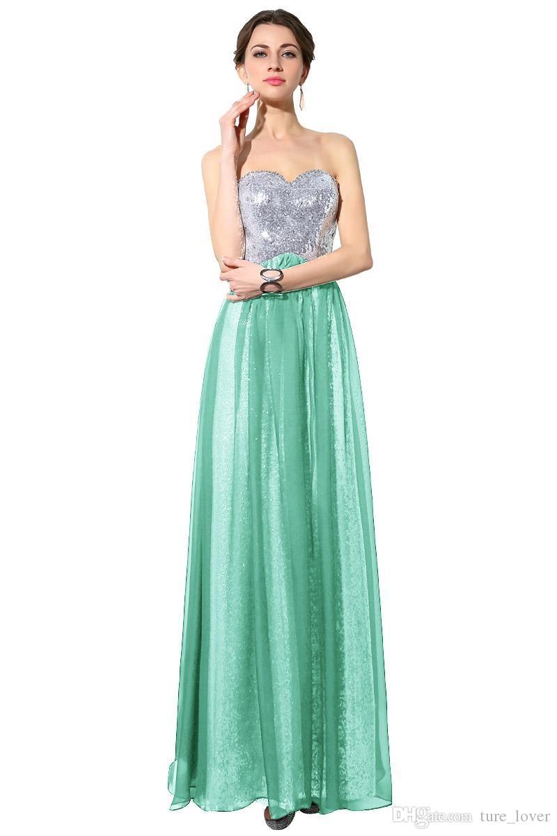 100% Real Image Long Chiffon Bridesmaid Dress With Sweetheart Empire ...