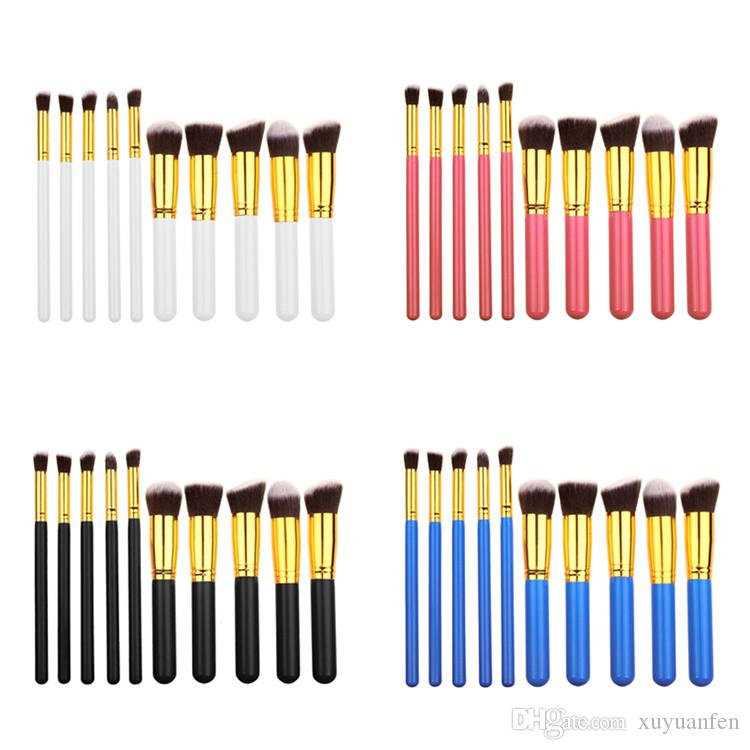 10 pcs / set Maquiagem Maquillage pinceaux Beauté Cosmétiques Haute Qualité Fondation Mélange Blush Maquillage Brosse outil Kit Ensemble