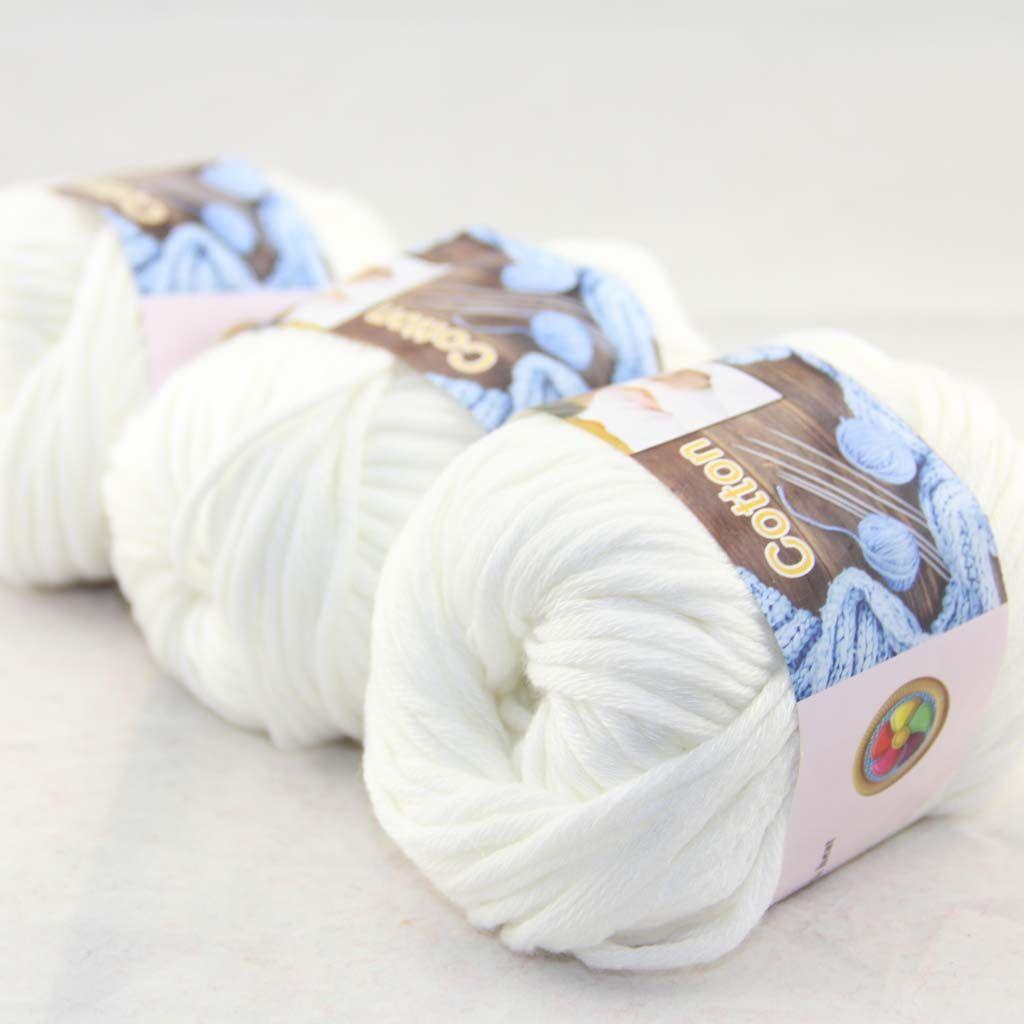 Продажа много 3 BallsX50g специальные толстые камвольно 100% хлопок вязание пряжи Белый 42201