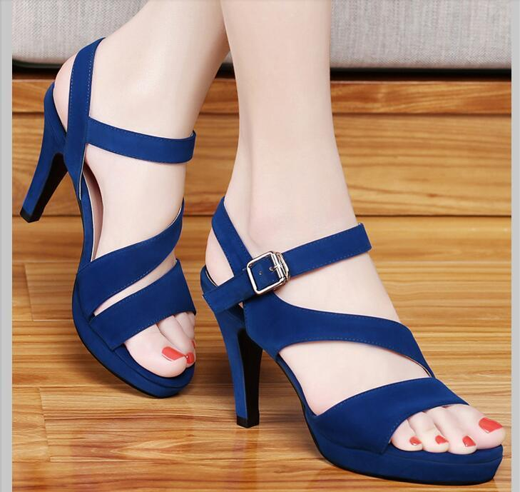 2016 New High Heels Sandals girls with fine with skinny black sexy ...
