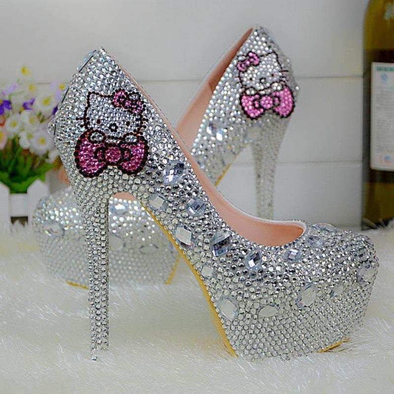 Nouveau Mode Sexy Femmes Argent Strass Chaussures De Mariage Pointe Ronde Superbe Bal Event Event Pompes Plus La Taille 44 Chaussures De Demoiselle D'honneur