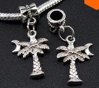 100PCS tibétain arbre argent Pendentifs Charms Dangle Perles Bracelet Fit Europe 21mm