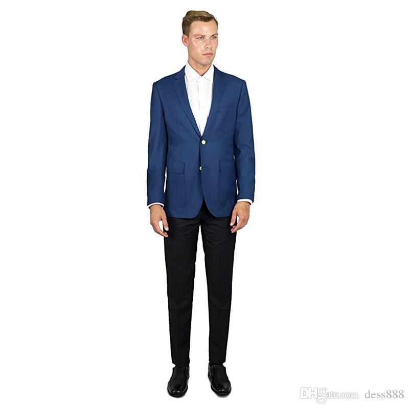 Großhandel Nach Maß Blaue Jacke Schwarze Hosen Groomsman Männer Passt Zwei Button 2 Teilig Slim Fit Männer Blazer Bräutigam Smoking Jacke + Hose H511