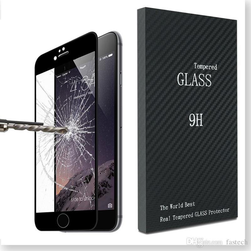 100% Fit Iphone 7 Screen 3D Curved Protector tempered glass Full Cover Curved Glass 9H Hardness Screen Protector With Retailbox