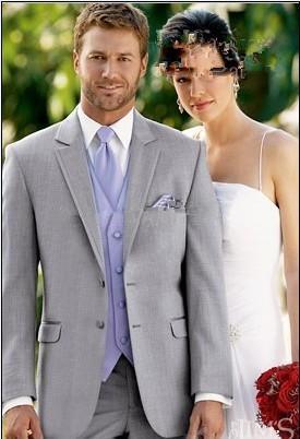 Costume gris clair lavande Gilet et cravate smokings marié Notch Lapel meilleur homme Groomsmen hommes Costumes de mariage Epoux (veste + pantalon + Gilet)