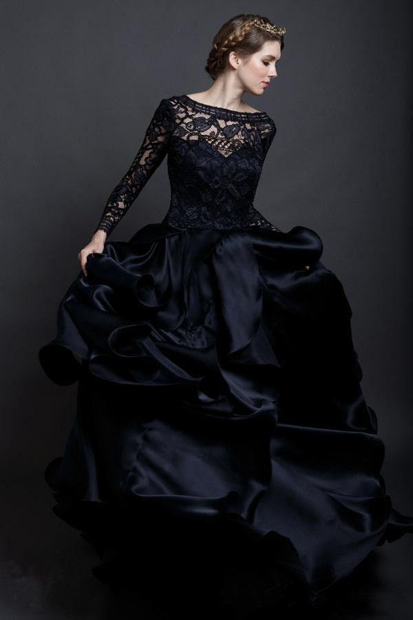Cheap black gothic wedding dresses
