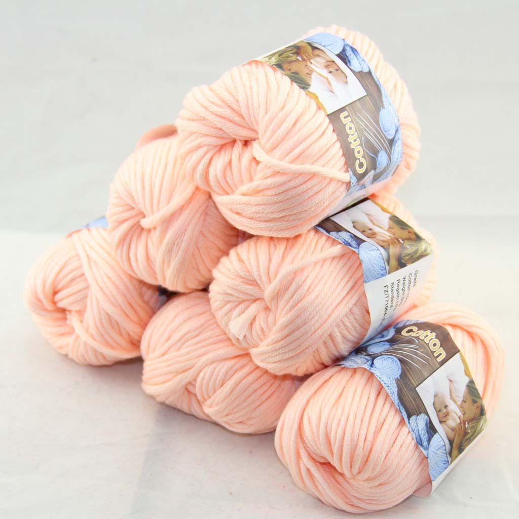 Много из 6 ballsx50g Специальная толстая толстая толстая 100% хлопчатобумажная пряжа белый персик 2204