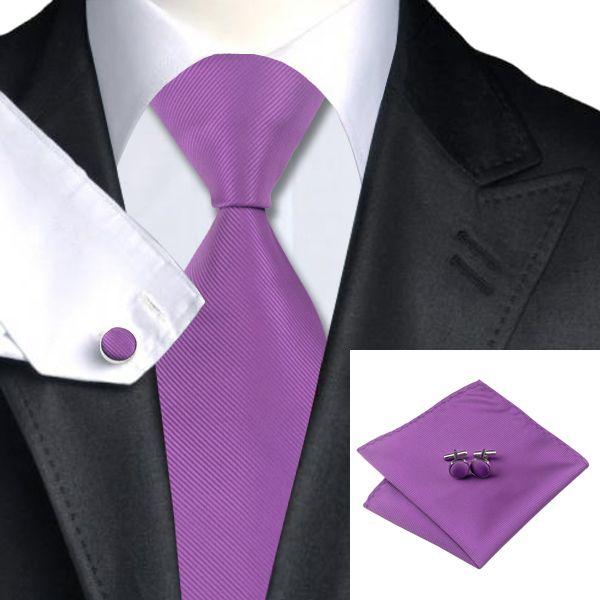 Erkek Düğün Mor Ipek Kravat Kol Düğmeleri Mendil Jaquard Dokuma Yeni Varış Düz Kravat Sylish Örgün Toplantı N-0760