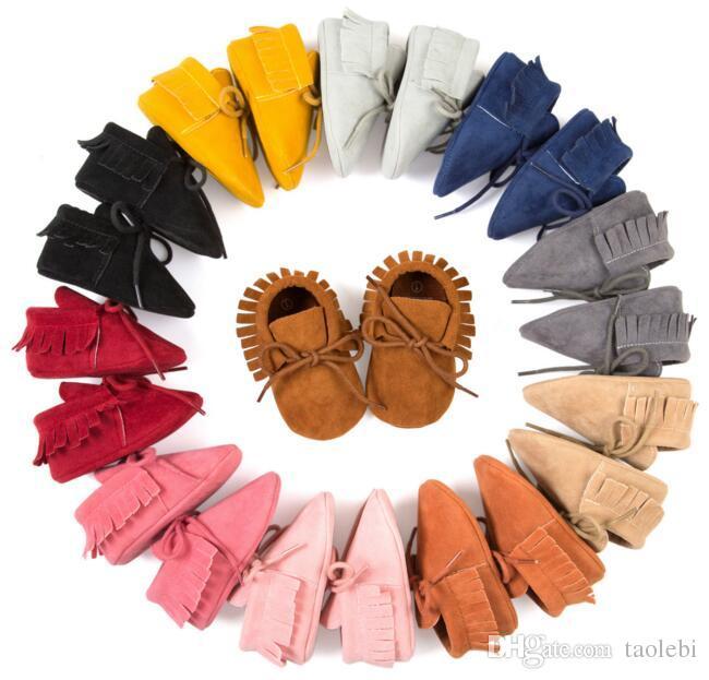 새로운 스타일 매트 질감 아기 소프트 부츠 술 프린지 모카신 신발 Mocs 아기 신발 선택을위한 다양한 색상