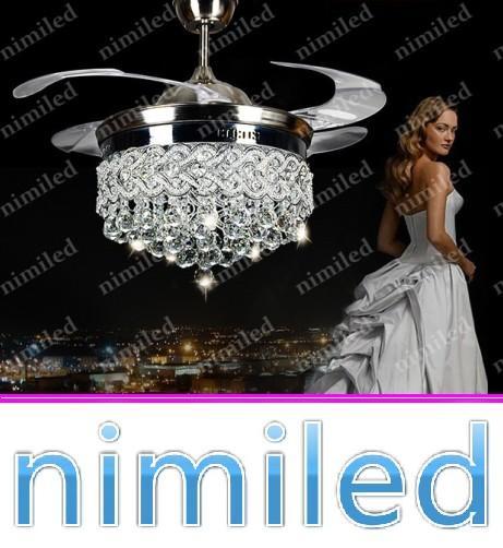nimi883 디아 36 인치 (92cm) 보이지 않는 크리스탈 라이트 천장 팬 LED 램프 실내 팔러 천장 조명 펜던트 조명 원격 제어