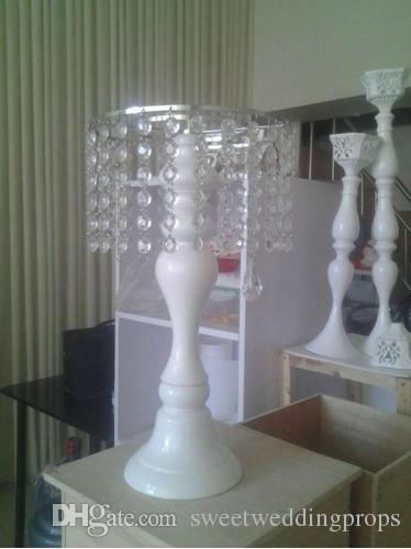 Ücretsiz Kargo 2016 Beyaz Kristal Düğün Çiçek Vazo Çiçek Raf Düğün Masa Centerpiece 46 cm (H) 10 adet / grup