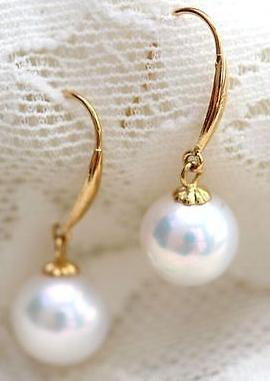 Hot natural 9-10mm south sea white pearl earrings 14k gold