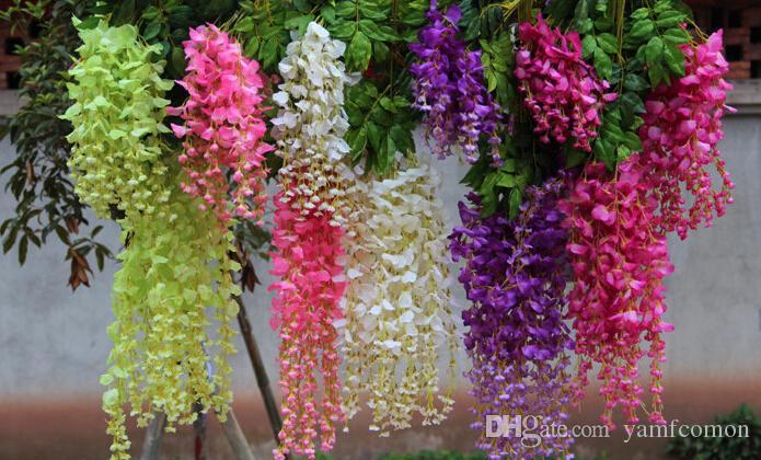 Wisteria Wedding Decor 110cm 6 colors Artificial Decorative Flowers Garlands for Party
