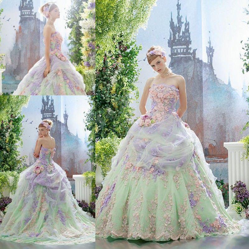 Fleurs colorées Robes de mariée robe de bal en dentelle Applique Tulle couvert Lace Up Back Robes de mariée Robes de mariée sur mesure sans bretelles